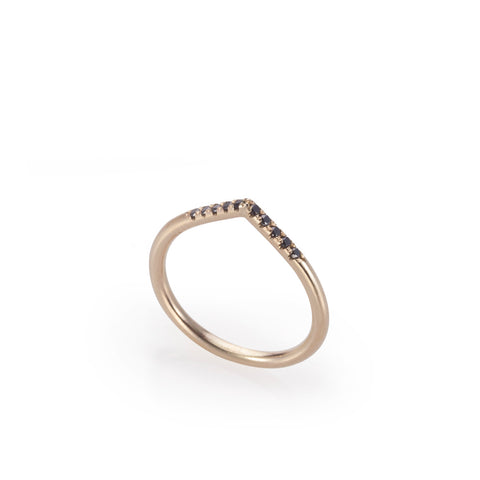 14k gold drop ring with black diamonds