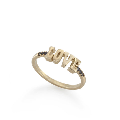 14k gold LOVE ring with black diamonds