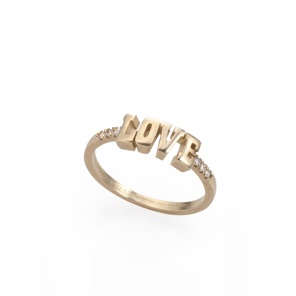 14k gold LOVE ring with 6*1p diamonds | Maya Geller