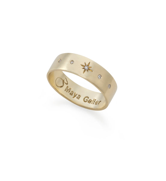 Copy of 14k gold star ring with 5 black diamonds