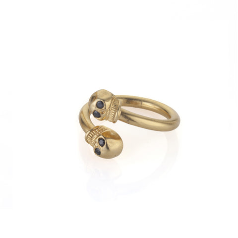 gold plated open skull ring