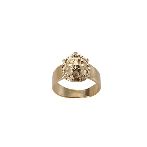 14k gold pinky lion ring