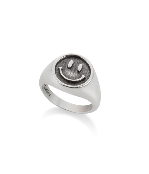 SILVER SMILEY PINKY RING
