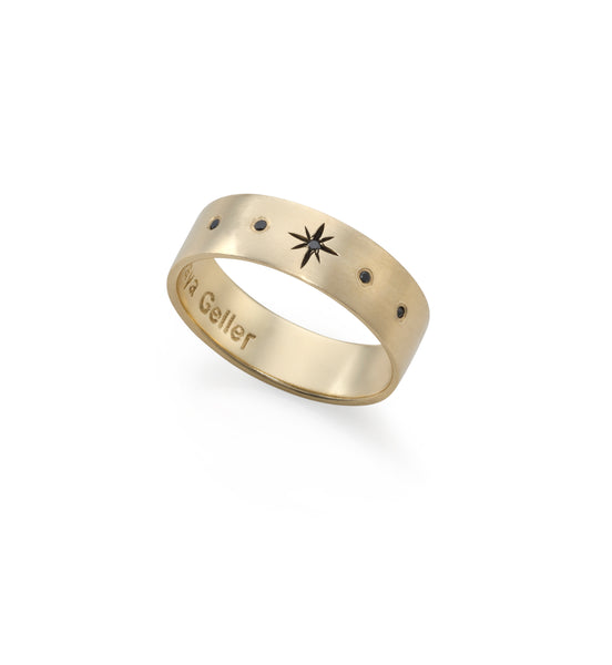 14k gold star ring with 5 black diamonds
