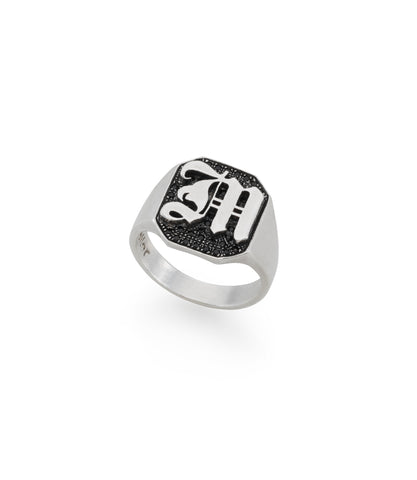 silver signet ring with gothic letter and black stones