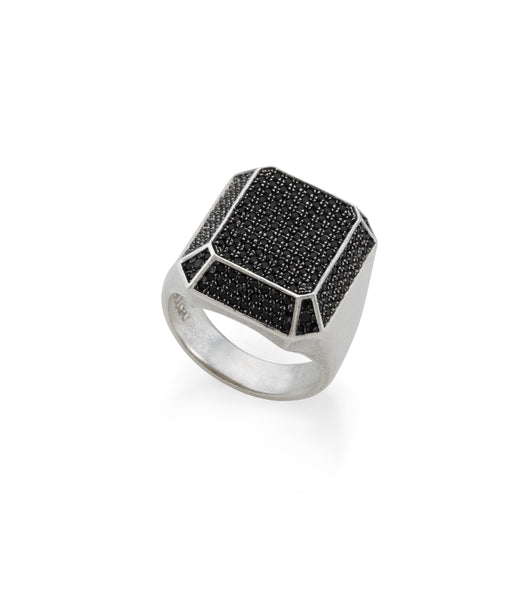 TOY large silver signet ring with black stones