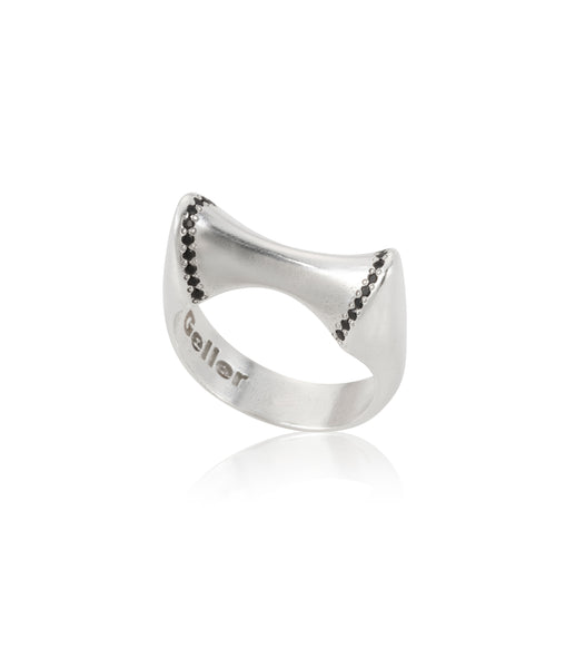 silver 2 peaks ring with black stones