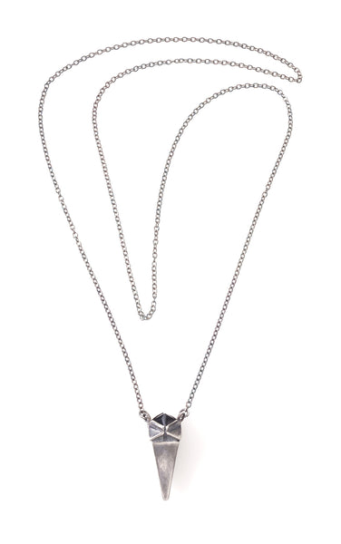 Silver tooth necklace with a black stone