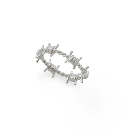 silver tiny barbed wire ring