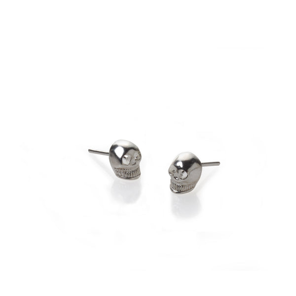 Silver skull stud earrings