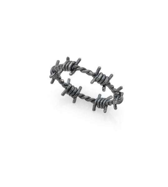 Oxidized silver tiny barbed wire ring