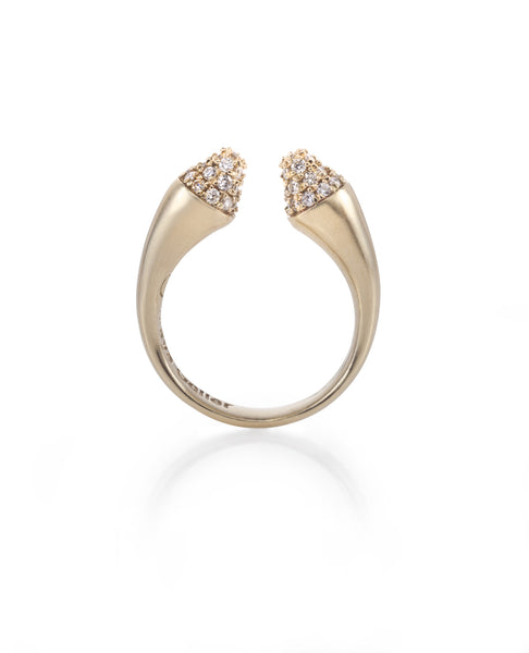 14K gold cone ring with white diamonds