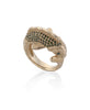 14K Gold KOI FISH RING W/ GREEN DIAMONDS