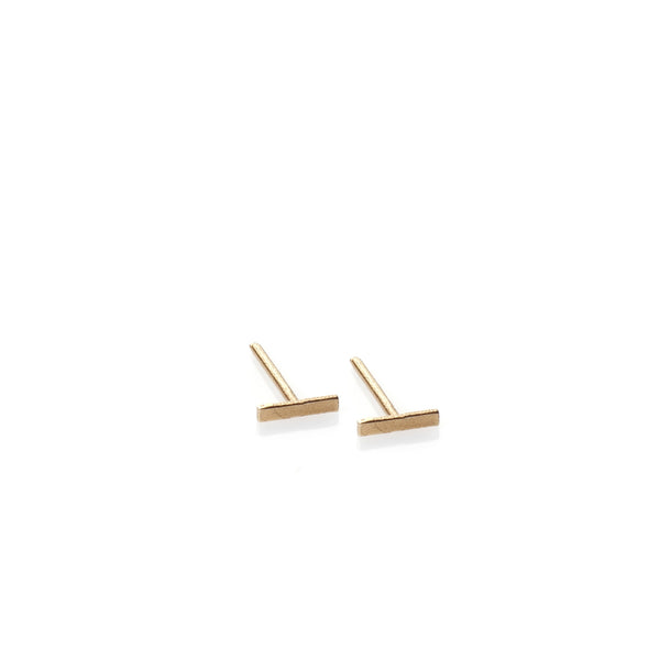 Stripe - 14k gold studs earrings