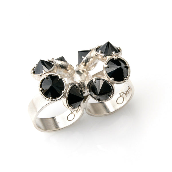 double silver ring with black stones