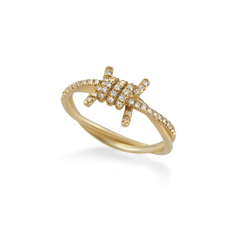 14k gold barbed wire ring with white diamonds