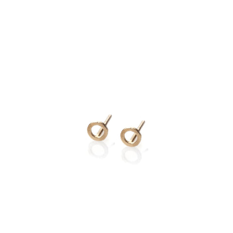 Circle - 14k gold studs earrings