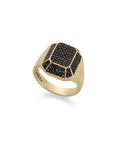 14k gold TOY signet ring with black diamonds