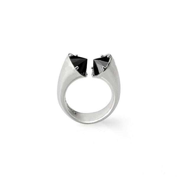 open silver ring with black stones.