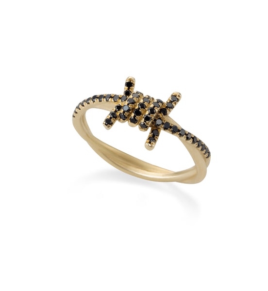 14k gold barbed wire ring with black diamonds