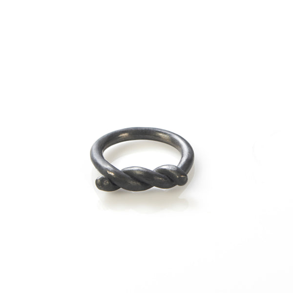 oxidized silver tie ring