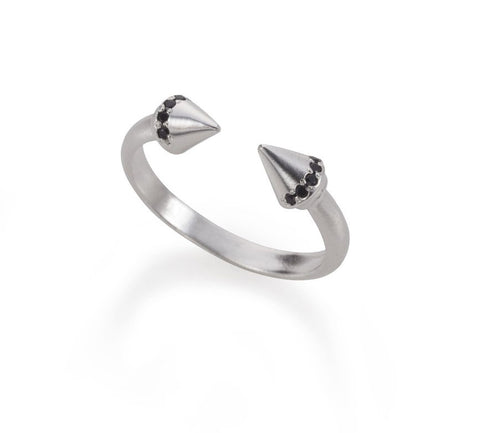 open silver arrows ring