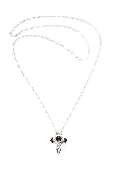 Silver necklace with 3 black stones