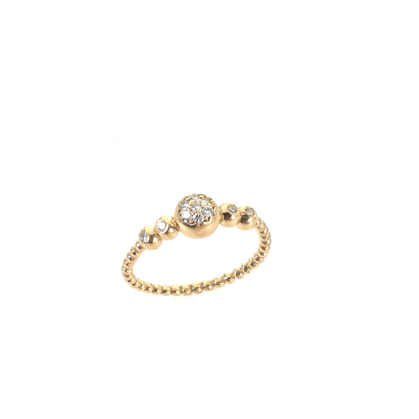 14k gold ring with 11 small diamonds