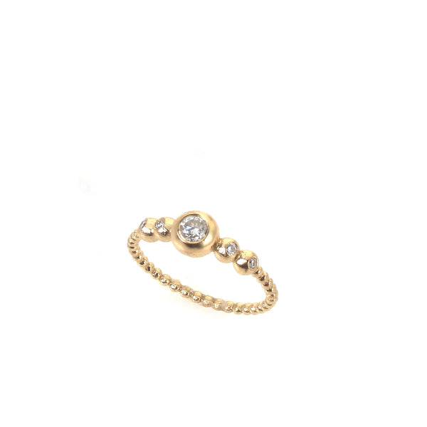 14k gold balls engagement diamond ring