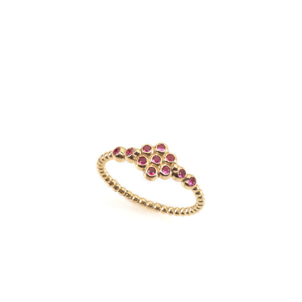 14k gold flower balls ring with rubies