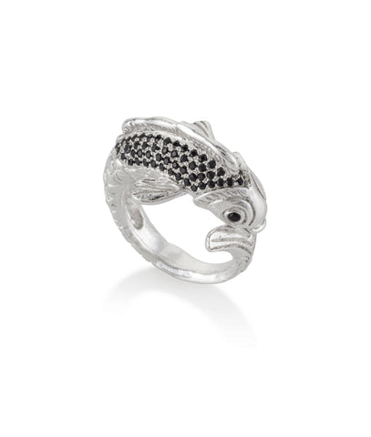 Silver Koi Fish ring with black stones
