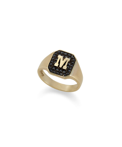 14k gold pinky ring with a letter and black diamonds