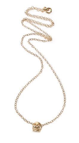 14k gold baby skull necklace