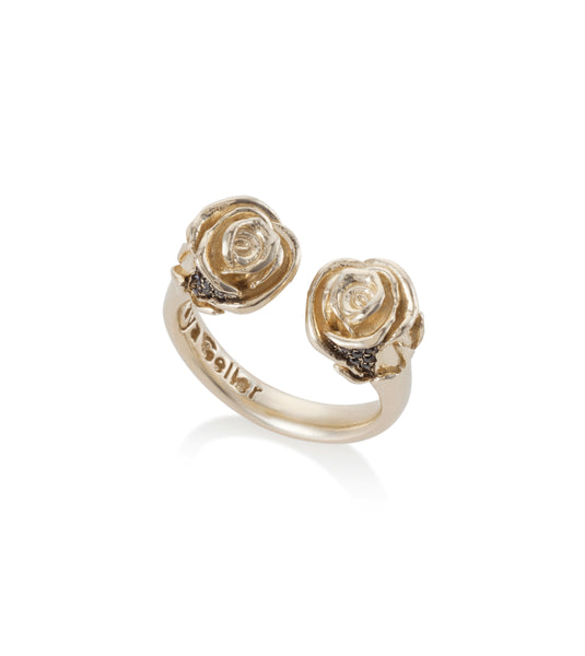 14k gold open roses ring with black diamonds