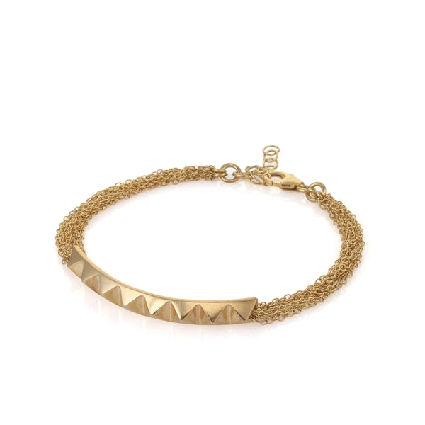 gold plated studs and chains bracelet