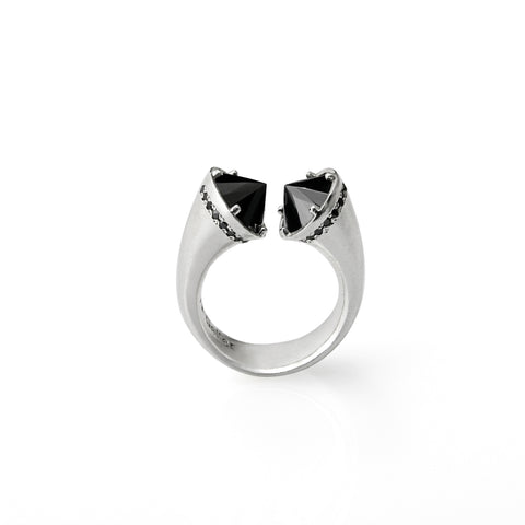 open silver ring with black stones