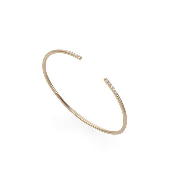 14K Gold open bracelet with diamonds