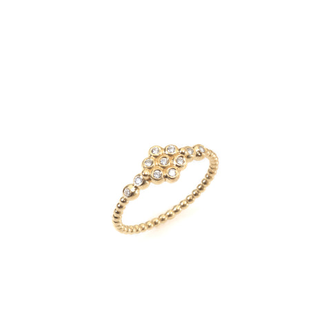 14k gold flower balls ring with diamonds