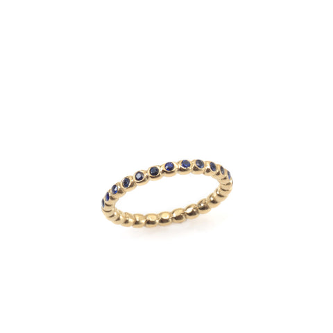 14k gold balls ring with sapphires