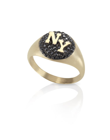 14k gold signet ring 2 letters black diamonds