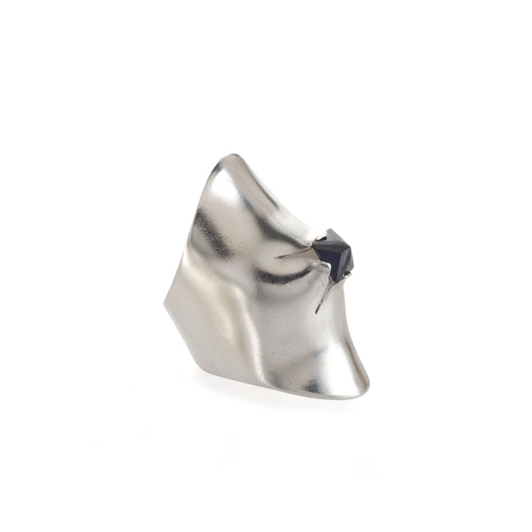 Silver armour ring with black stone