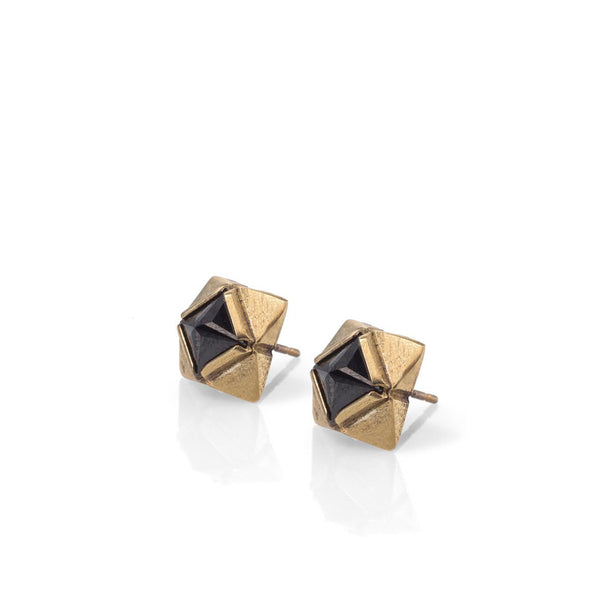 Gold plated stud earrings with black stones