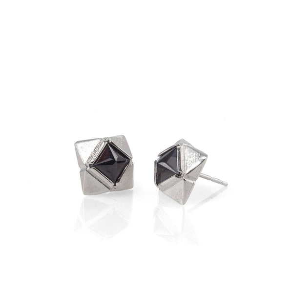 Silver stud earrings with black stones