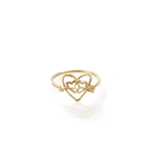 Heart and arrow 14k gold ring