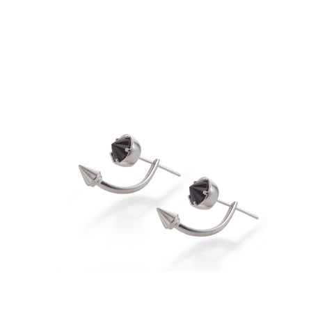 silver 2 sides spike and stone earrings
