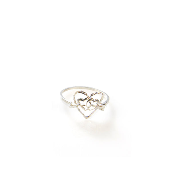 Silver heart and arrows ring