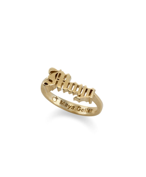 14k gold gothic name ring