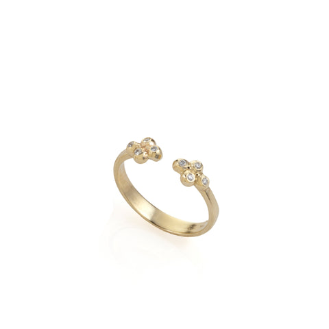 14k open gold ring with 8 diamonds