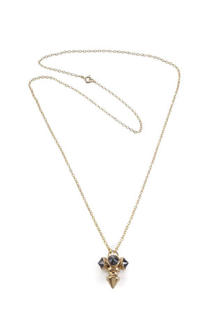 Gold plated necklace with 3 stones
