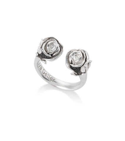 open silver roses ring with black stones